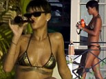 Rihanna looking sexy in a bikini with best friend Melissa Forde in