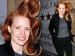 There she blows! Jessica Chastain's hair goes mile high as she gets caught in a wind spell