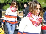 Colour clash: Jessica Alba heads out for lunch in a bizarre, mismatched ensemble