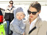 Just call her Mrs Claus! Jennifer Garner goes on a shopping spree at the toyshop... and takes baby Samuel along to help