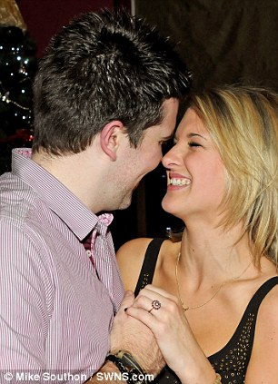 Loved up: The special message was played as the couple enjoyed a party with friends in their local pub in Braunton, Devon