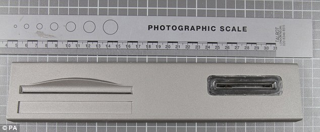 Sophisticated: This is a police picture showing a  view of a card skimming device used by Mr Rotaru