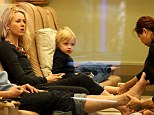 Like mother like son! Naomi Watts gets pedicure in New York...and so does four-year-old Kai