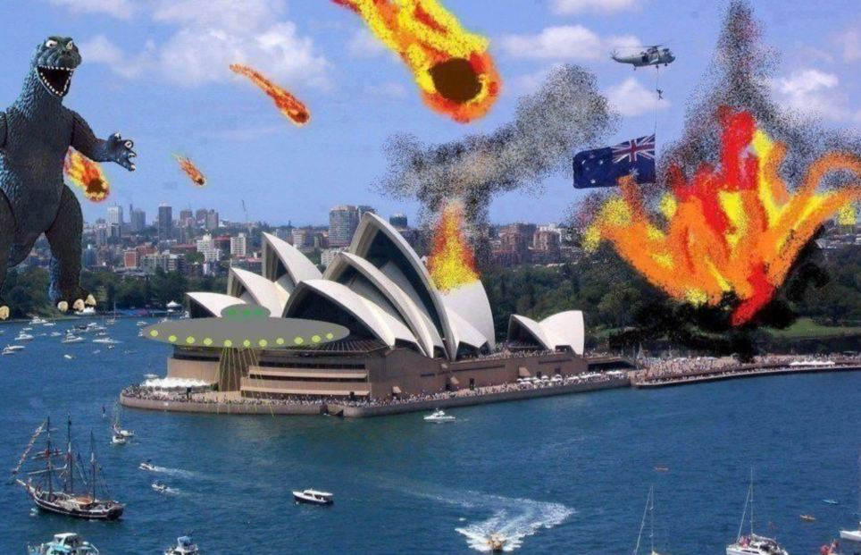 Under attack: This illustration of Australia's Sydney Harbour under attack from flaming balls of fire and a dinosaur as well as aliens was posted with the caption 'This was not photoshopped'