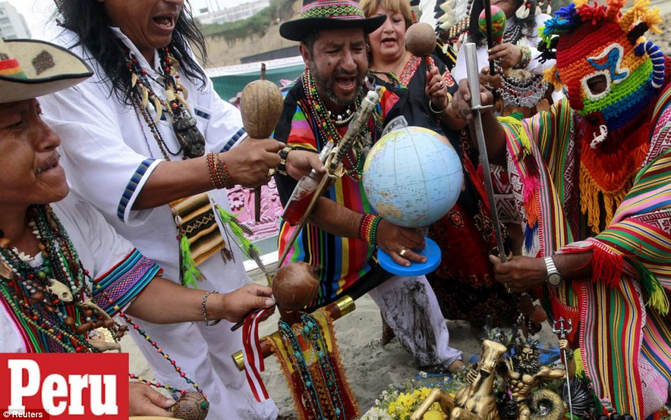 Ritual: Peruvian shamans perform a ritual at a beach to prevent the end of the world, in Lima