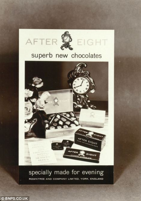 One of the earliest advertisements for the After Eight, pictured, featured not just the wafer thin mint but also a box and bar as well. The chocolate box and bar were soon dropped as the 'posh-chocs' image developed through the sixties