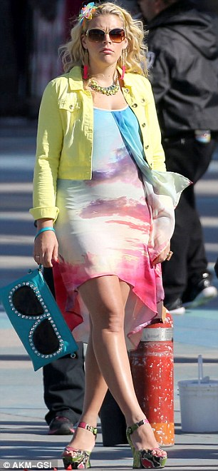 Blooming: Busy Phillips, who recently announced she's pregnant with her second child, was also spotted on set