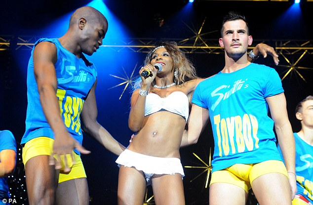 Toy Boy: Sinitta was joined on stage by men wearing t-shirts saying Toy Boy in reference to her hit single