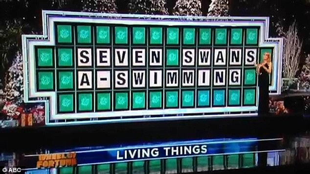 Easy win: Vincenti quickly solved the puzzle, making sure to pronounce the hard G at the end of 'swimming'