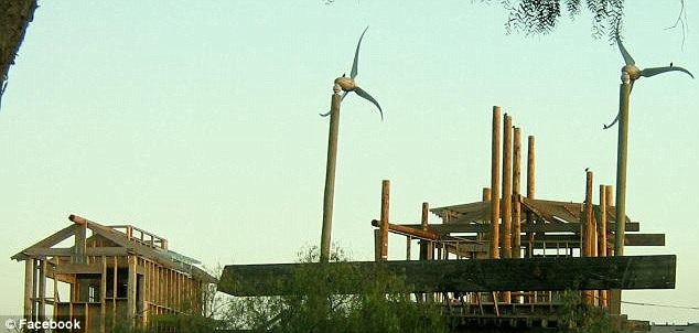 Green technology: The small village in the Mojave Desert town of Acton came with energy-producing windmills