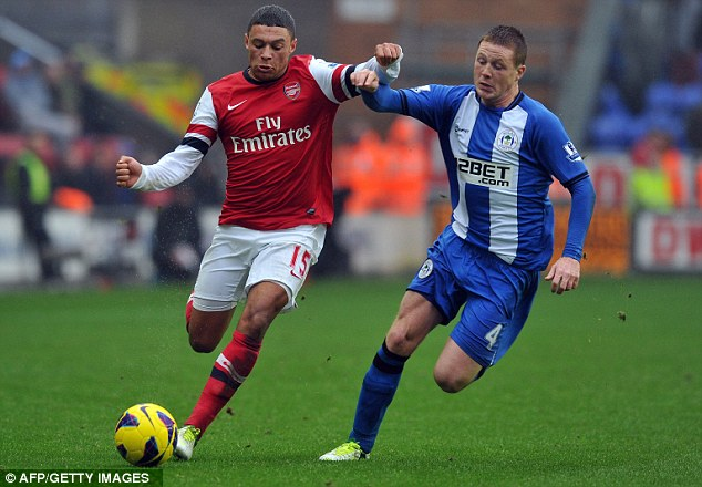 Tracking back: Wigan midfielder James McCarthy vies with Arsenal's Alex Oxlade-Chamberlain