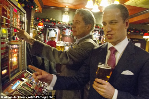 Going for a spin: Michael Middleton takes William for a swift pint at  the local - and a flutter on the fruit machine