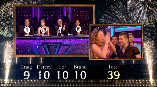 Near-perfect: The pair received a score of 39 for their sexy showdance