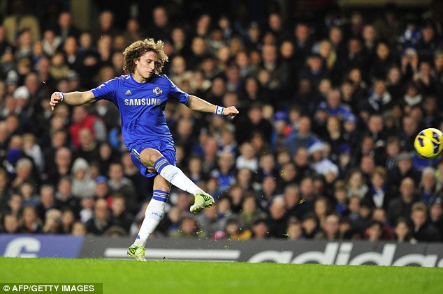 Stunner: Luiz hammered home a free-kick to double the lead