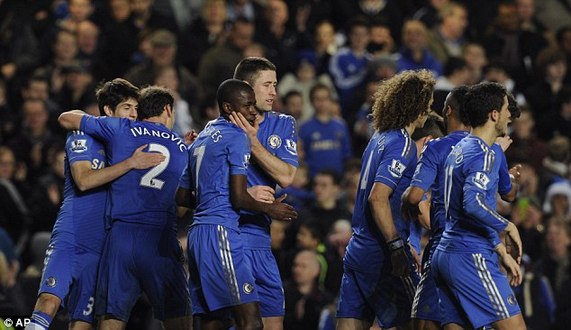 Joining the party: Ramires came off the bench to net the fifth