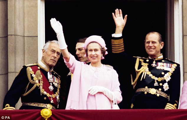 Happier times: (left to right) Earl Mountbatten of Burma, Queen Elizabeth II and the Duke of Edinburgh wave from the balcony of Buckingham Palace after the Silver Jubilee procession in 1977