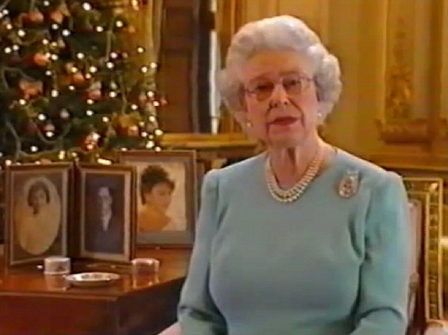 Half a century of messages: Her Majesty delivers her 50th Christmas speech in 2002 in which she spoke of the death of The Queen Mother and her sister, Princess Margaret