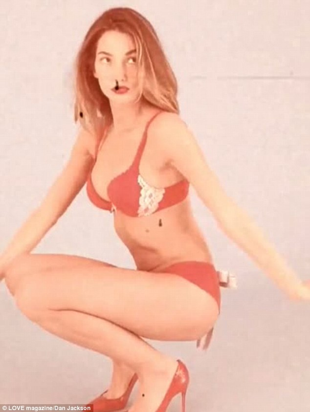 Trying to retain her innocence: The 27-year-old stunned in a pastel red lingerie set by Calvin Klein