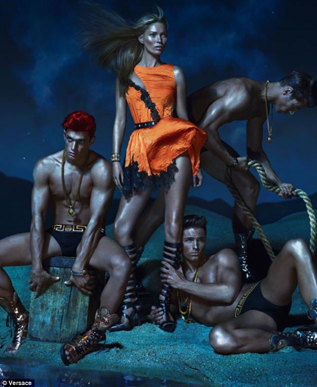 Strike a pose: Supermodel Kate Moss is barely recognisable in Versace's new gladiator-themed campaign