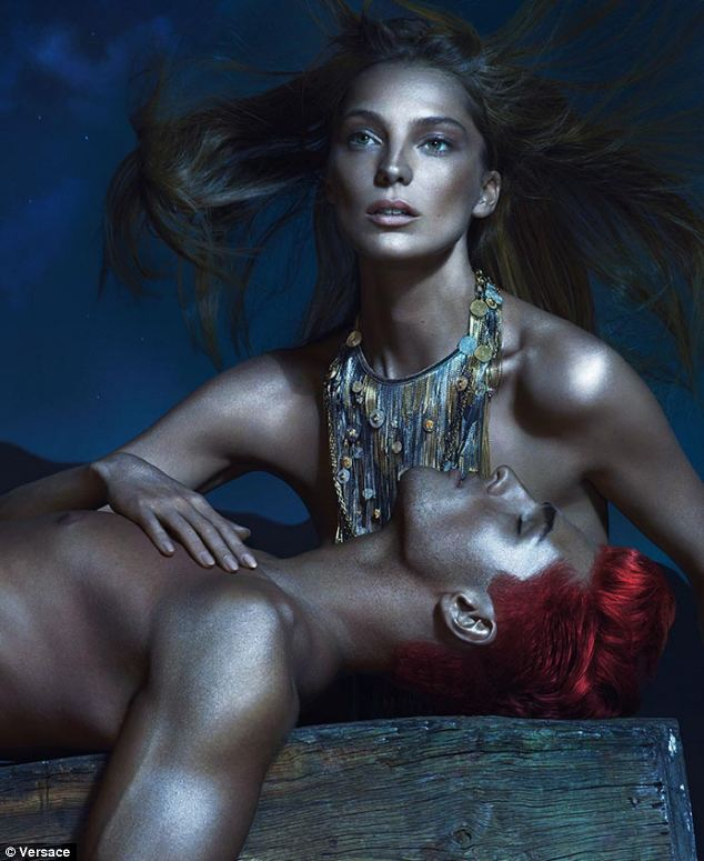 Dazzling: A bronzed Daria Werbowy is one of the faces of Versace's new campaign