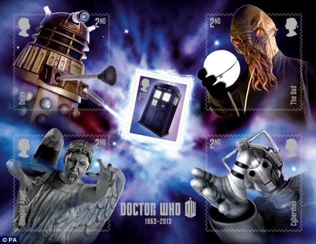 Royal Mail's five-stamp miniature sheet showing the Doctor's time-travelling machine, the Tardis, and some of his famous foes such as a Dalek, a Cyberman, an Ood and a Weeping Angel