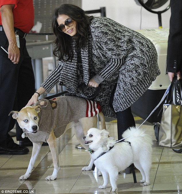 Come here, you! Jenna's dogs appeared as excited as their owner to be back home in LA