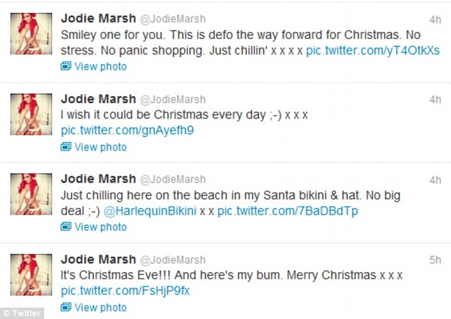 Jodie Marsh wished her Twitter followers a happy Christmas as well as posting a picture of her bum in her new bikini