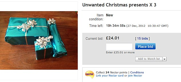 Case of the ex: One eBay seller has listed three Christmas presents from an ex-boyfriend that have not been opened in a Boxing Day clear out.