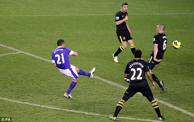 It's there: Osman's opener for the Toffees at Goodison Park