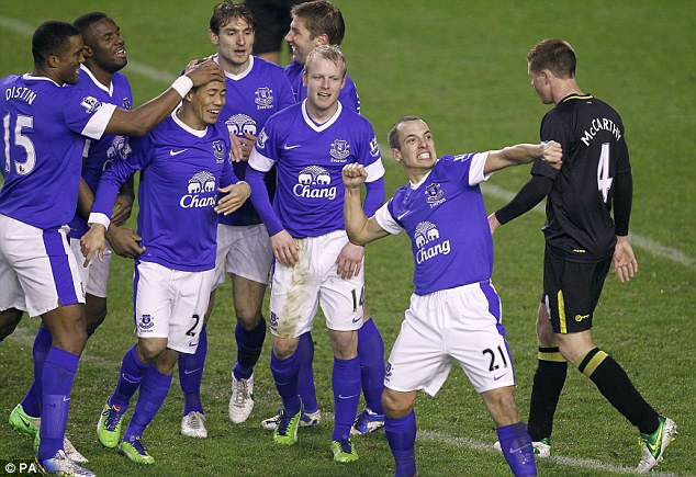 Breakthrough: Leon Osman punches the air in celebration after scoring for Everton against Wigan (below)