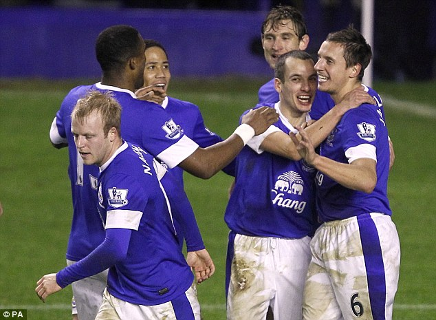 Heads up: Phil Jagielka (right) is congratulated after scoring Everton's second