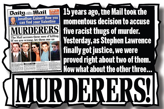 The Mail on January 4, 2012 - the day after the killers were jailed