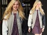 Elle Fanning in Letterman jacket in Tarzana, California