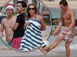 Chip off the old block: George Lineker displays his fancy footwork as he holidays with his mother and brothers