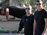 Russell Crowe and James Packer walking and spotted doing push ups in Rose Bay in Sydney