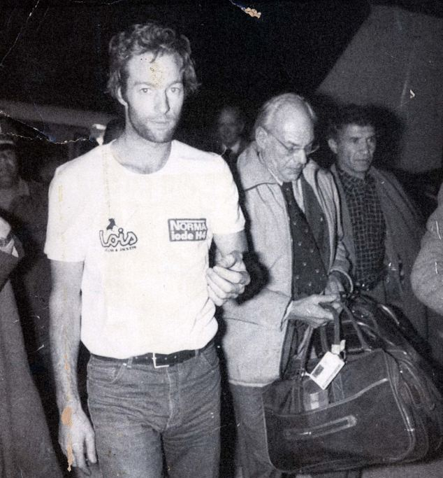 Mark Thatcher at Tamanrasset airport as he arrives and joins his father who was waiting for two days. Mark had been lost in the Paris-Dakar rally in the Sahara desert