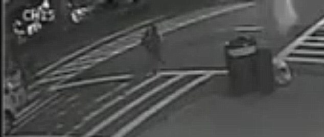 On the run: The suspect, described as a Hispanic woman in her 20s, was captured on a surveillance camera fleeing from the train station after the incident