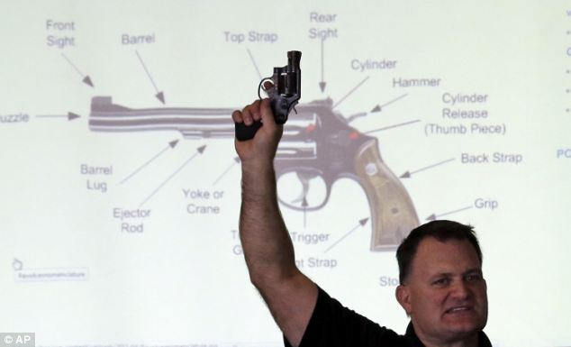 Clark Aposhian, President of Utah Shooting Sport Council, holds a pistol during the concealed weapons training. The lobby group offered six hours free training