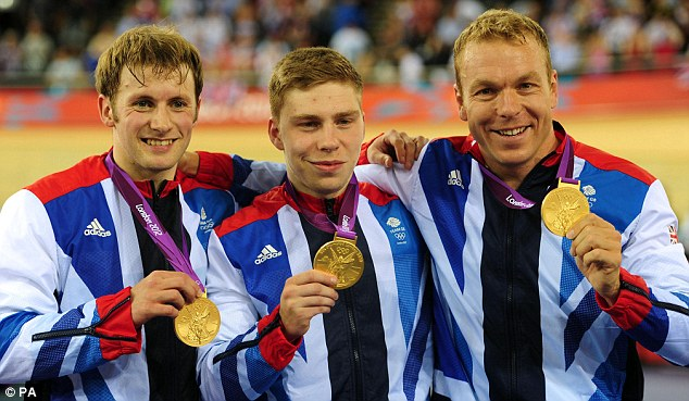 Team work: Jason Kenny (left) won double gold at the velodrome