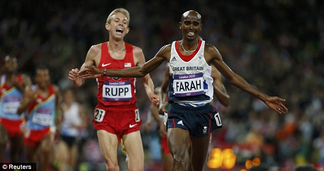 Super Saturday: Mo Farah (above) and Greg Rutherford (below) won gold medals on an unforgettable night