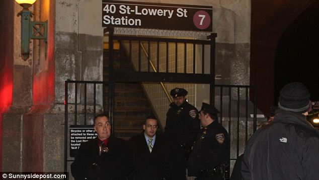 Crime scene: The man was struck by the train and killed at the 40th Street station near Queens Boulevard in Sunnyside, pictured