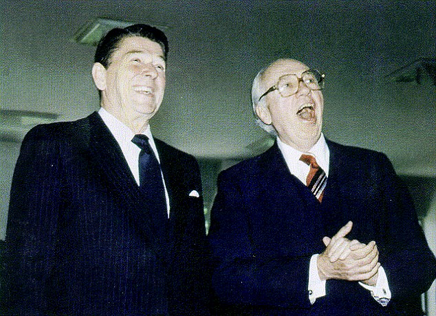 Classified: Former CIA chief William Casey pictured here with President Ronald Reagan, was concerned that the US might have given Argentina a false sense of security over the Falklands invasion