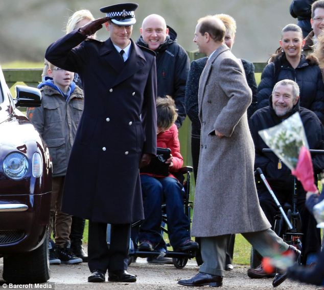 Royal salute: Prince Edward is saluted outside church at Sandringham as he arrives for Sunday mass this morning
