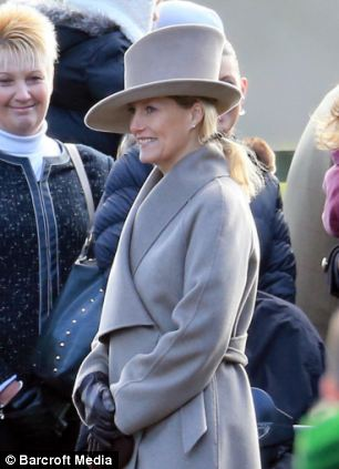 Sophie Wessex was all smiles as she mingled with well-wishers who had turned out to greet members of the Royal family who attended mass this morning