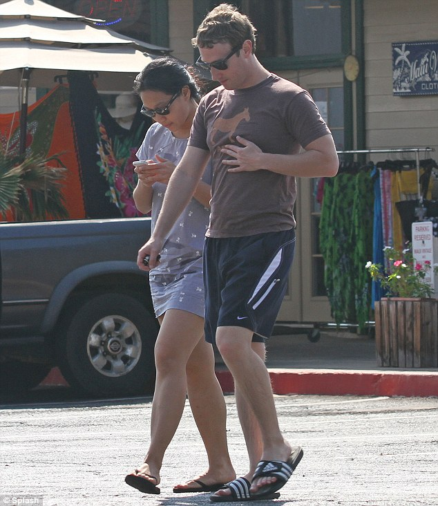 Chilled: The Zuckerbergs dress down during their romantic break on the island of Maui