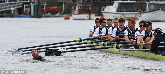 Intruder: Protester Trenton Oldfield interrupted an otherwise boring Boat Race