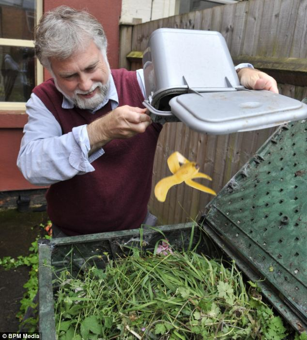 Back to the earth: John's resolution to compost waste meant that he was able to fill just one bag of rubbish for the year