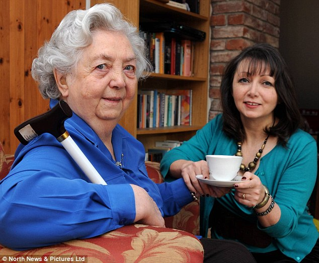 Good deeds: Author Judith O'Reilly from has written a book about doing one good deed every day such as making her elderly blind mother Veronica  a cup of tea