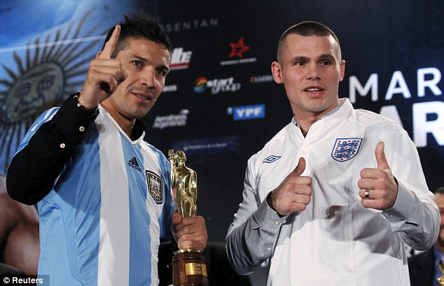 Old enemy: Argentina's world champion Sergio Martinez (left) defends his title against England's Martin Murray
