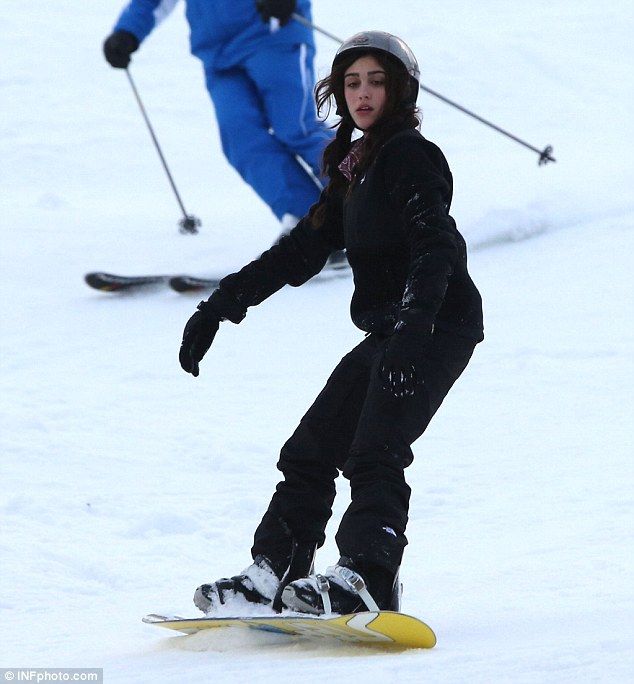 Confident with her boarding ability: Only a year ago Lourdes looked unsteady on her feet on the slopes